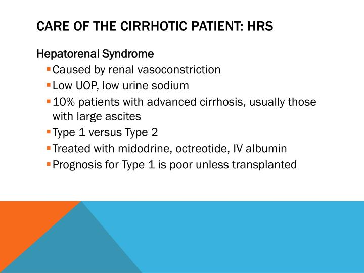 Care of the cirrhotic patient: HRS