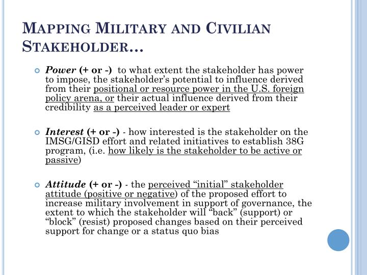 Mapping Military and Civilian Stakeholder…