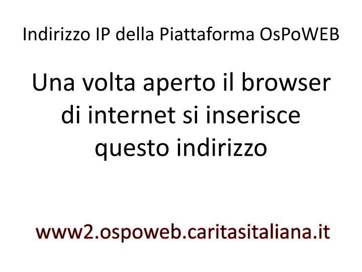 Indirizzo IP della Piattaforma