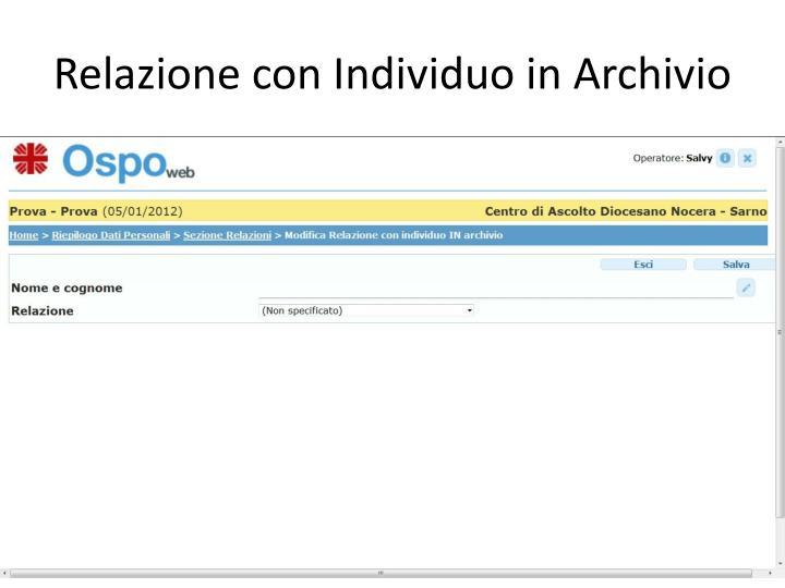 Relazione con Individuo in Archivio