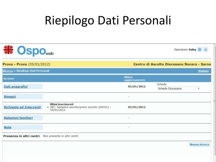 Riepilogo Dati Personali
