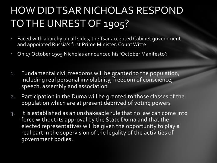 the october manifesto Tsar nicolas and the october manifesto born in may 1868 tsar nicholas ii ascended the throne on 20 october 1894, following the death of his father.
