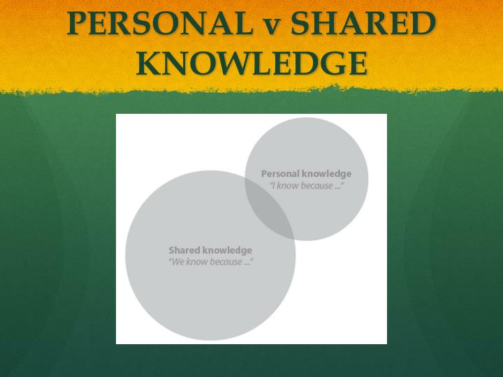 PERSONAL v SHARED KNOWLEDGE