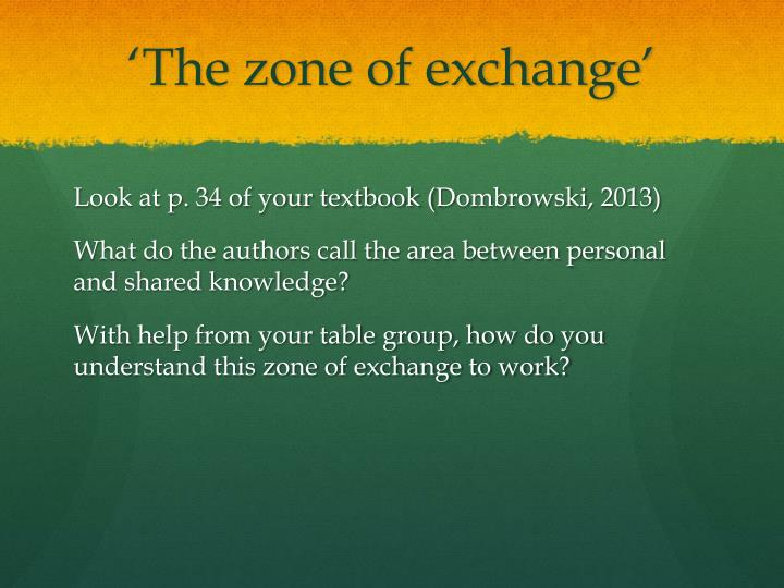 'The zone of exchange'