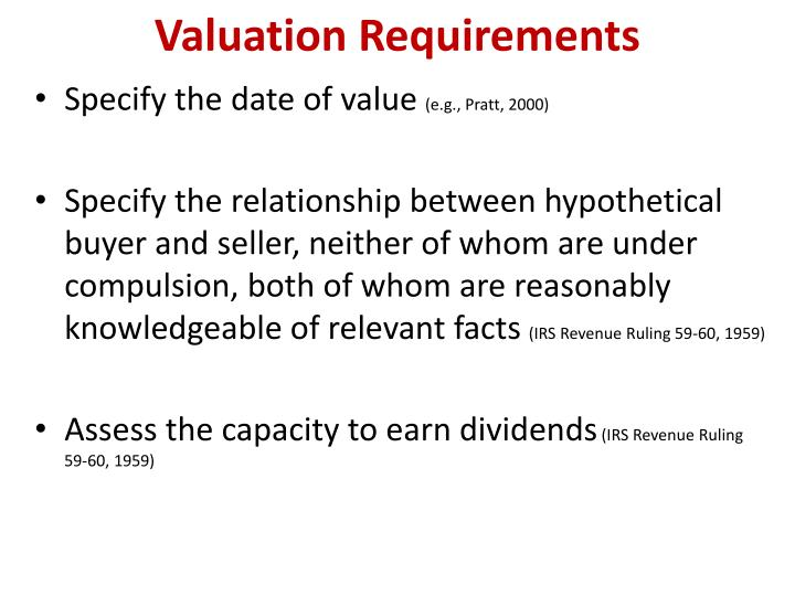 Valuation Requirements