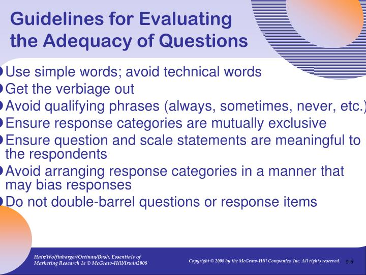 Guidelines for Evaluating the Adequacy of Questions
