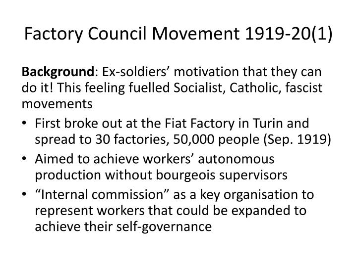 Factory Council Movement 1919-