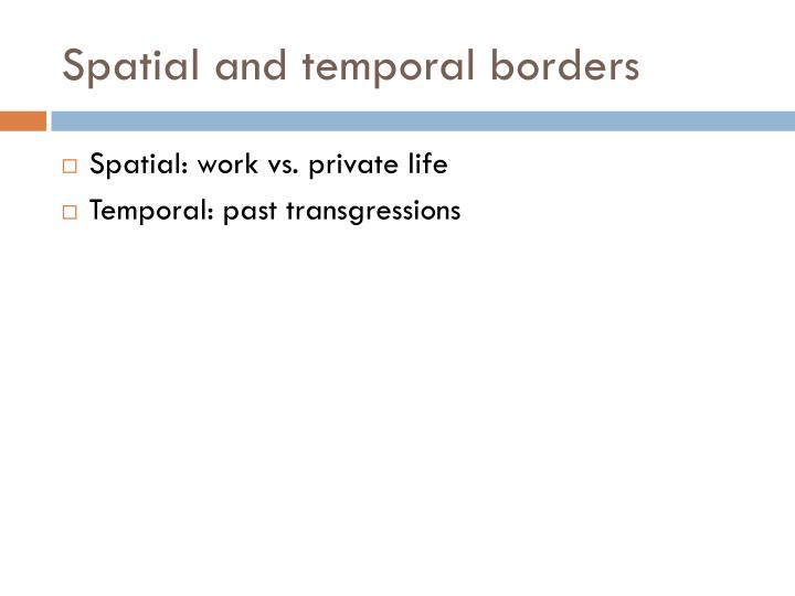 Spatial and temporal borders