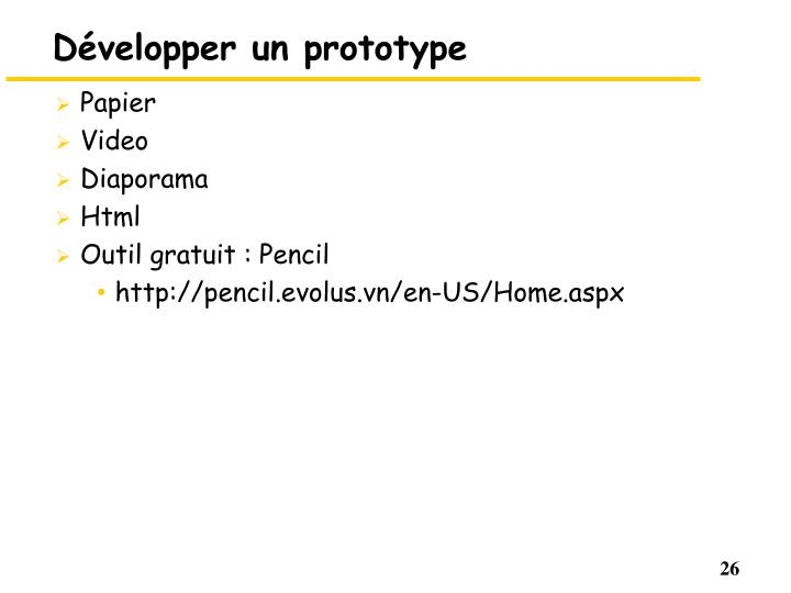 Développer un prototype