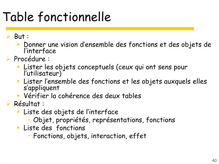 Table fonctionnelle