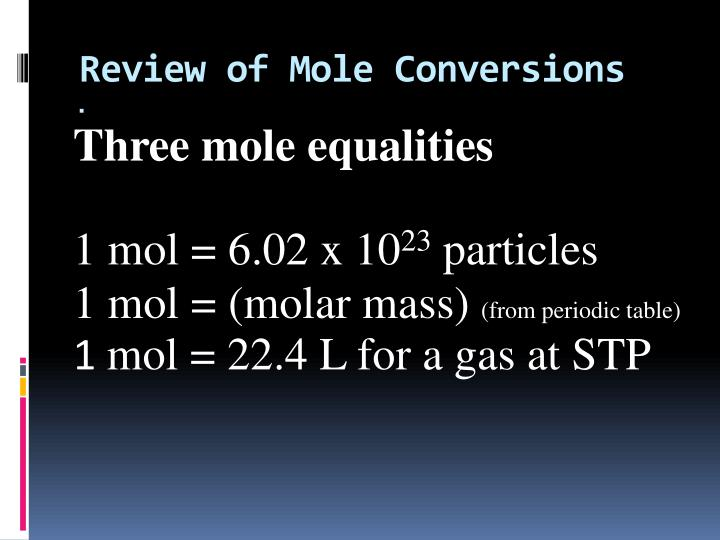 Review of Mole Conversions
