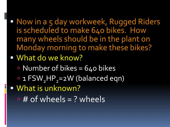 Now in a 5 day workweek, Rugged Riders is scheduled to make 640 bikes.  How many wheels should be in the plant on Monday morning to make these bikes?