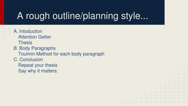 A rough outline/planning style...