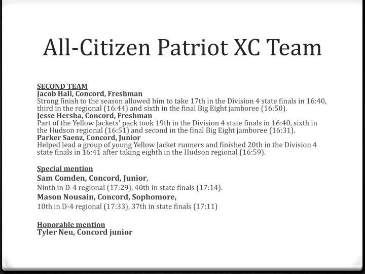 All-Citizen Patriot XC Team