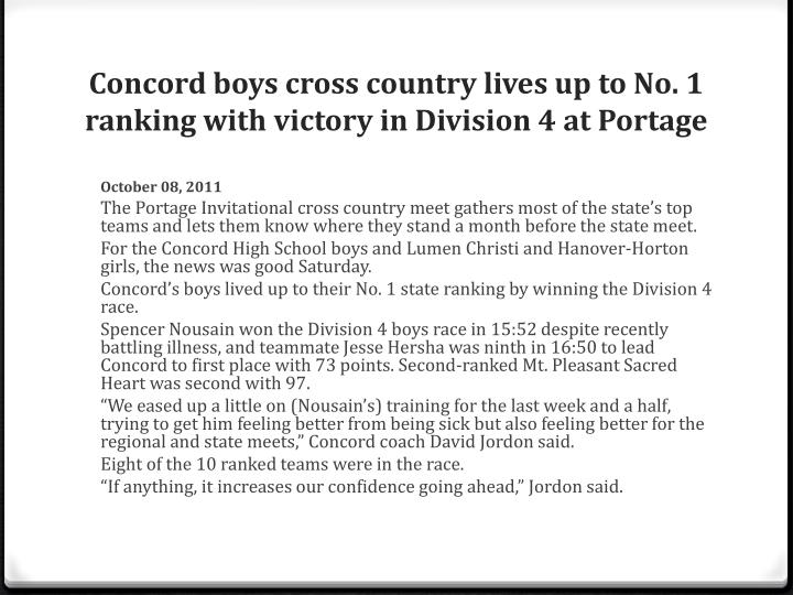 Concord boys cross country lives up to No. 1 ranking with victory in Division 4 at Portage