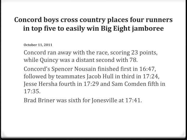 Concord boys cross country places four runners in top five to easily win Big Eight jamboree