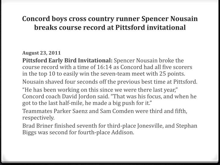 Concord boys cross country runner Spencer