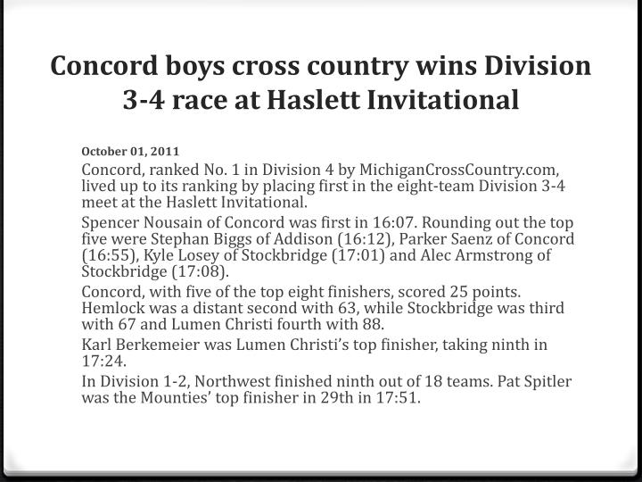 Concord boys cross country wins Division 3-4 race at Haslett Invitational
