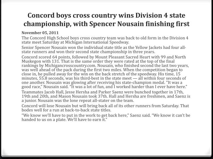 Concord boys cross country wins Division 4 state championship, with Spencer