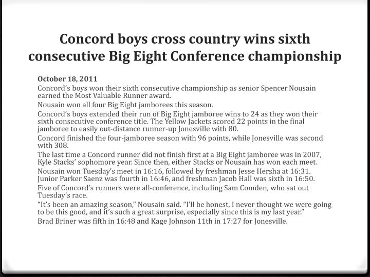 Concord boys cross country wins sixth consecutive Big Eight Conference championship