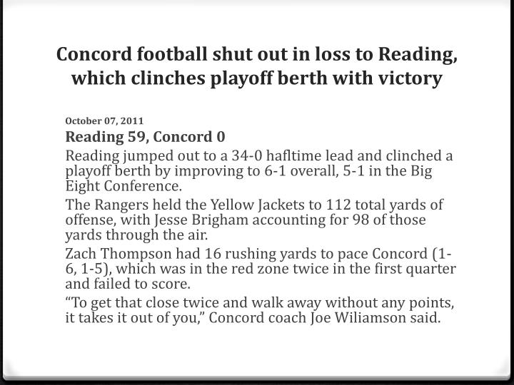 Concord football shut out in loss to Reading, which clinches playoff berth with victory