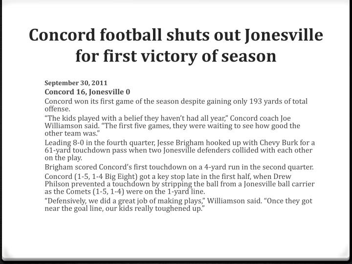 Concord football shuts out Jonesville for first victory of season