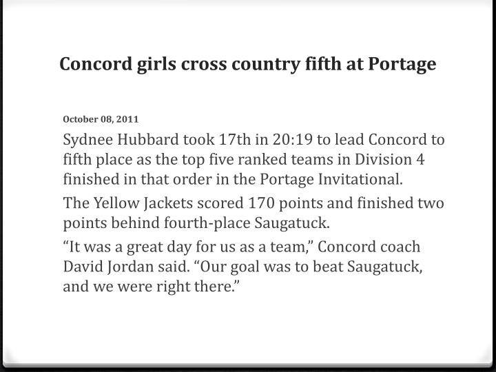 Concord girls cross country fifth at Portage