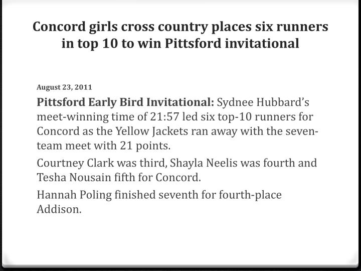 Concord girls cross country places six runners