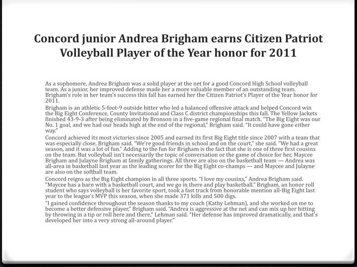 Concord junior Andrea Brigham earns Citizen Patriot Volleyball Player of the Year honor for 2011