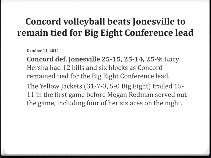 Concord volleyball beats Jonesville to remain tied for Big Eight Conference lead