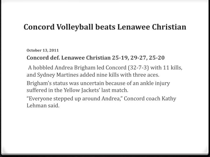 Concord Volleyball beats Lenawee Christian