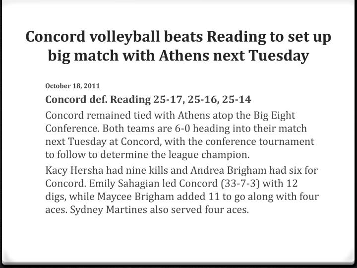 Concord volleyball beats Reading to set up big match with Athens next Tuesday