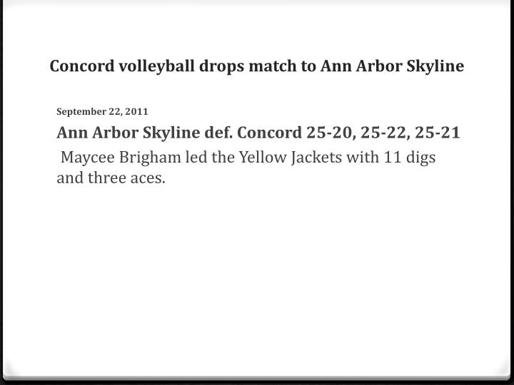 Concord volleyball drops match to Ann Arbor Skyline