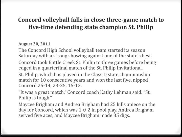Concord volleyball falls in close three-game match to five-time defending state champion St. Philip