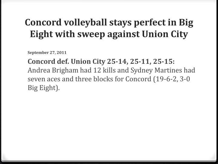Concord volleyball stays perfect in Big Eight with sweep against Union City