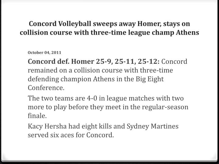Concord Volleyball sweeps away Homer, stays on collision course with three-time league champ Athens