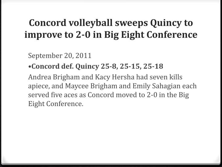 Concord volleyball sweeps Quincy to improve to 2-0 in Big Eight Conference