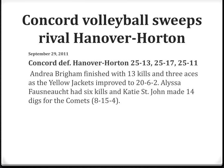 Concord volleyball sweeps rival Hanover-Horton