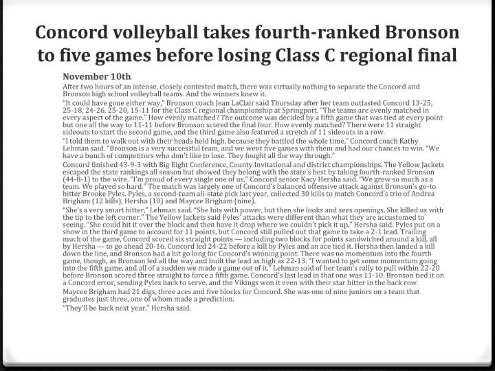 Concord volleyball takes fourth-ranked Bronson to five games before losing Class C regional final