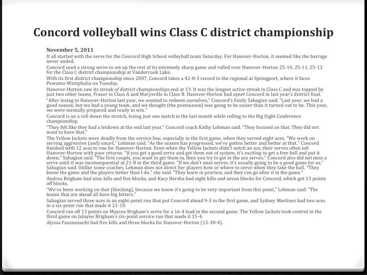 Concord volleyball wins Class C district