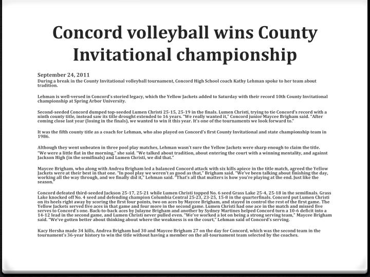 Concord volleyball wins County Invitational championship