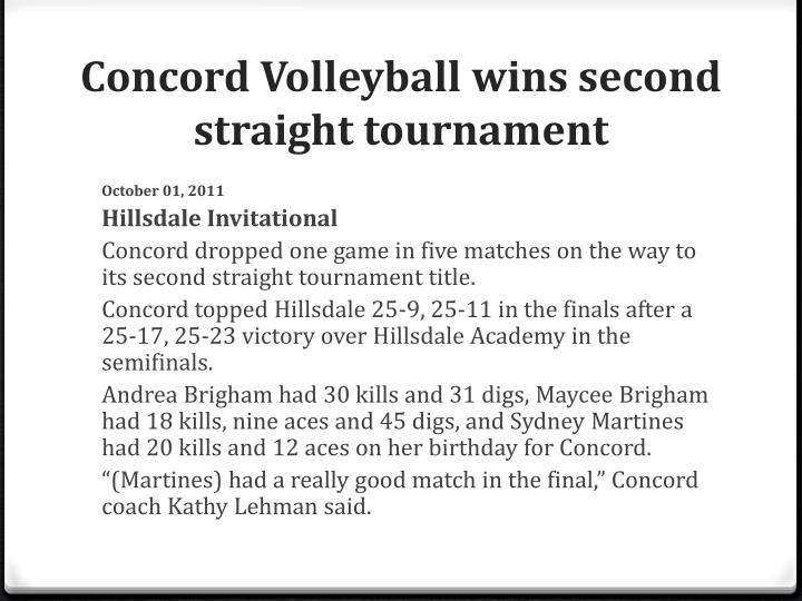 Concord Volleyball wins second straight tournament