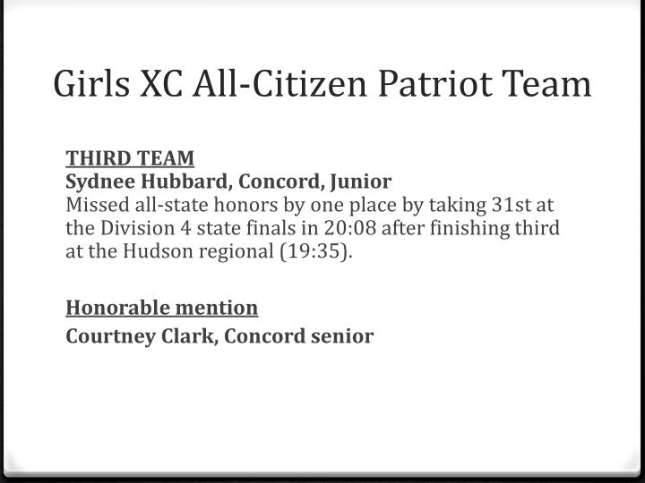 Girls XC All-Citizen Patriot Team
