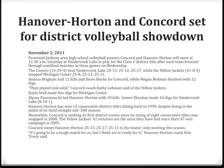 Hanover-Horton and Concord set for district volleyball showdown