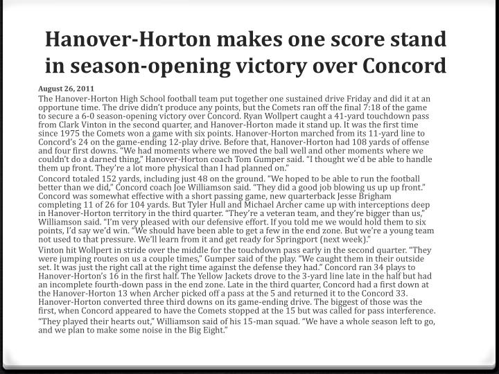 Hanover-Horton makes one score stand in season-opening victory over