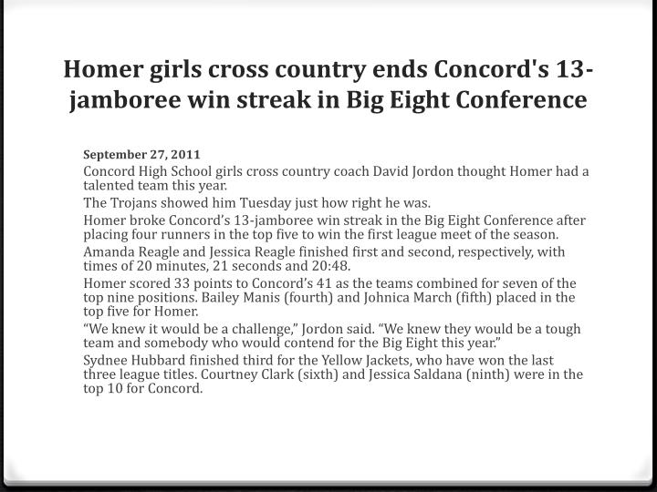 Homer girls cross country ends Concord's 13-jamboree win streak in Big Eight Conference