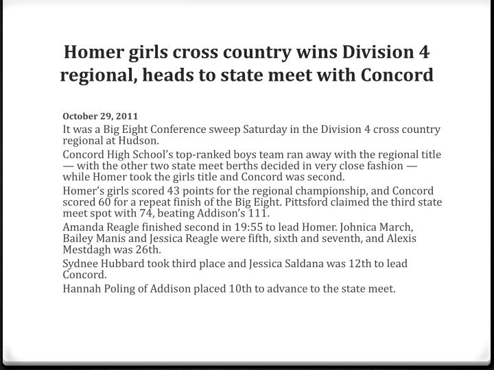 Homer girls cross country wins Division 4 regional, heads to state meet with Concord
