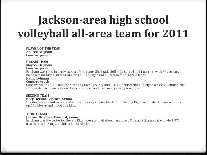Jackson-area high school volleyball all-area team for 2011