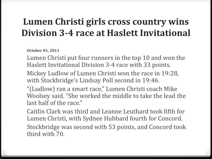 Lumen Christi girls cross country wins Division 3-4 race at Haslett Invitational
