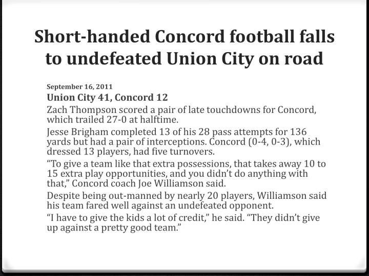 Short-handed Concord football falls to undefeated Union City on road